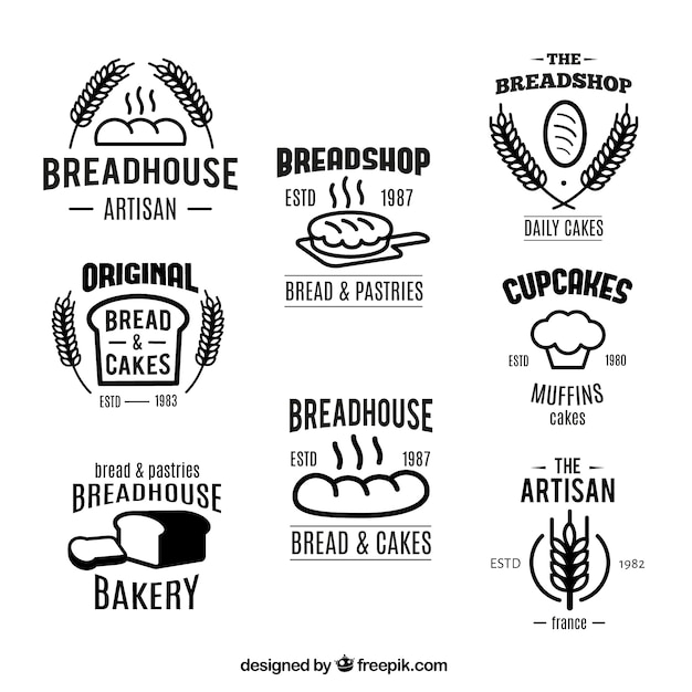 Bakery badges collection Free Vector
