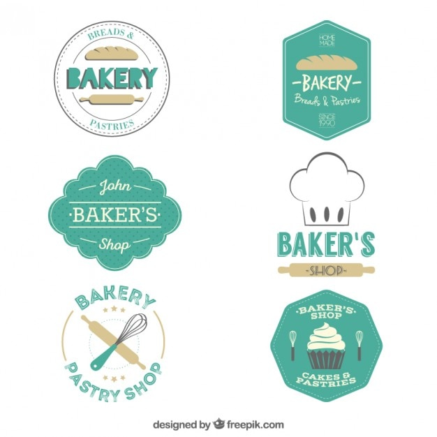 Bakery badges pack in a retro style Premium Vector
