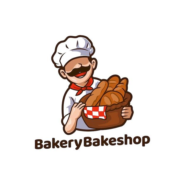 ベーカリーベーカリーフードパンマスコット Premiumベクター