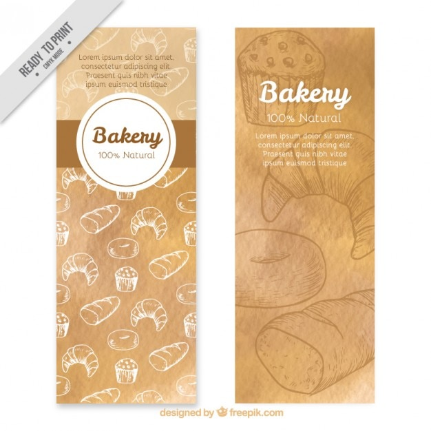 Bakery banners of hand drawn products Free Vector
