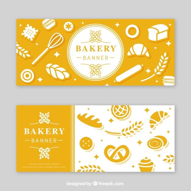 Пекарские знамена в плоском стиле Premium векторы