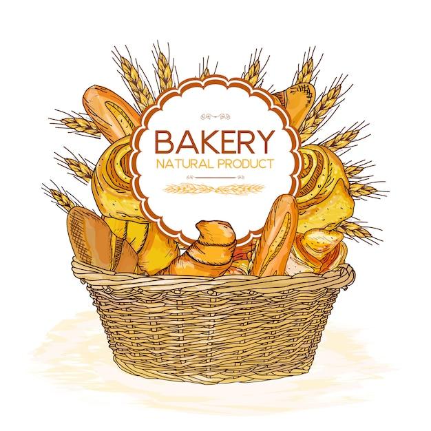 Bakery basket food Premium Vector