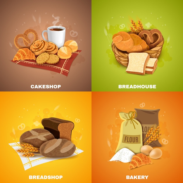 Bakery breadshop 4 flat icons square Free Vector