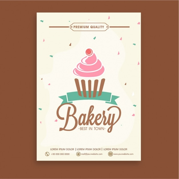 Bakery Brochure Template With Decorative Cupcake Vector Premium - Bakery brochure template