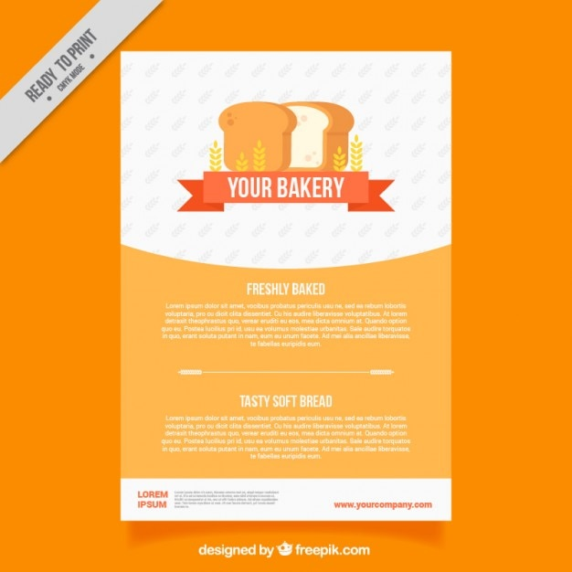 Bakery Brochure Template With Loaf Vector Free Download - Bakery brochure template