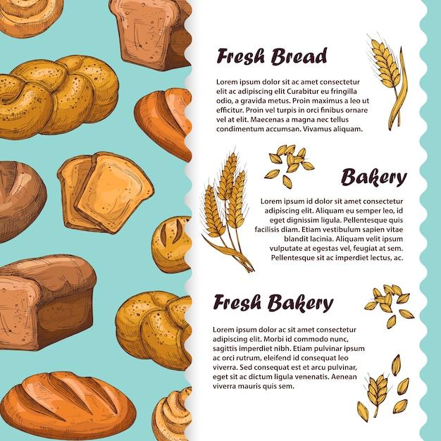 パン、カフェメニュー、パンとパンのチラシテンプレート Premiumベクター