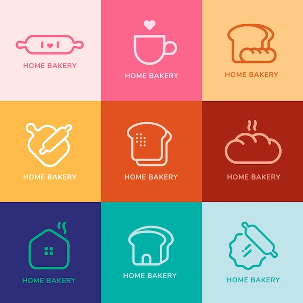 Bakery cafe minimal modern style logos Premium Vector