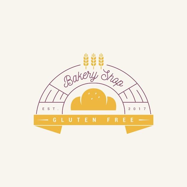 ベーカリーケーキロゴデザイングルテンフリー 無料ベクター