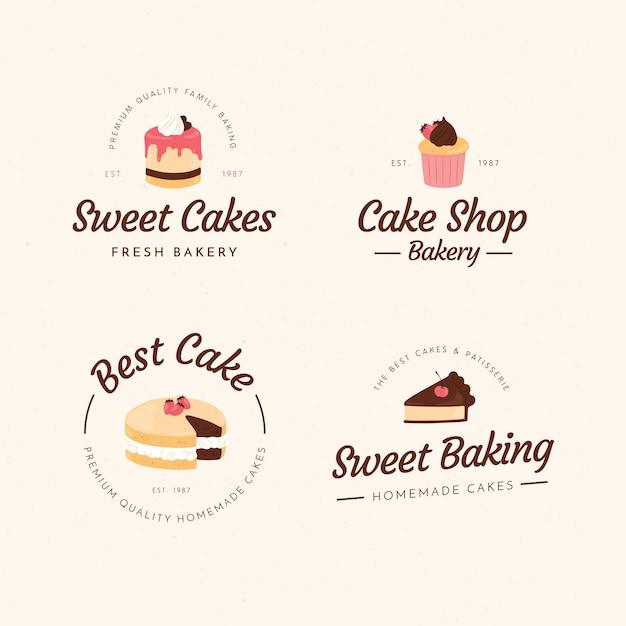 Пекарня торт логотип иллюстрации концепции Premium векторы
