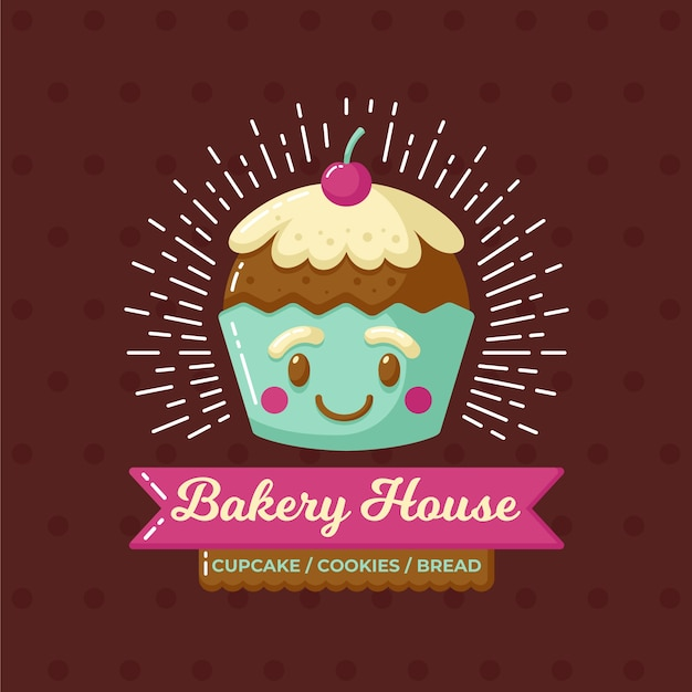Bakery cake logo with cupcake Free Vector