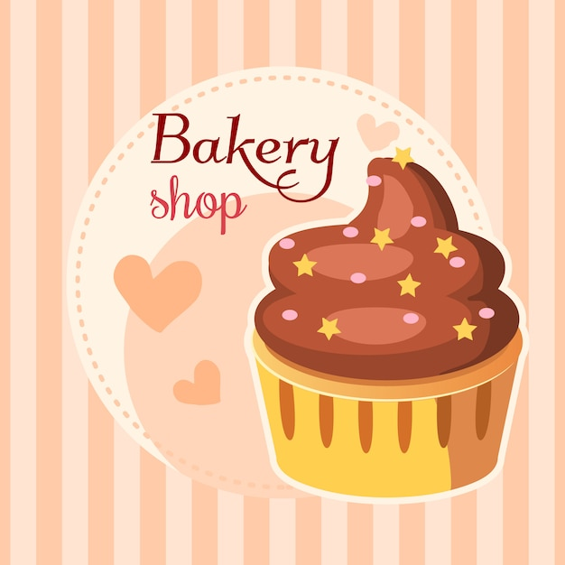 Bakery cake with whipped cream background Free Vector