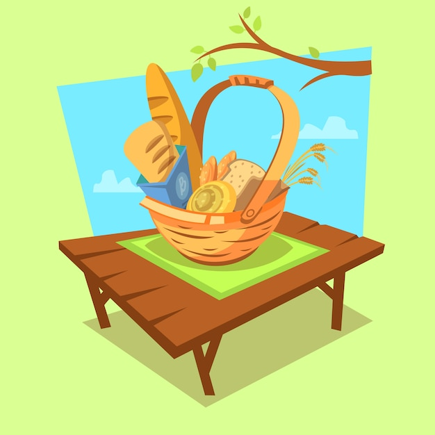 Bakery cartoon concept with retro style basket full of bread on outdoor background Free Vector