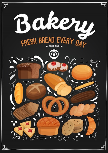 Bakery chalkboard illustration Free Vector