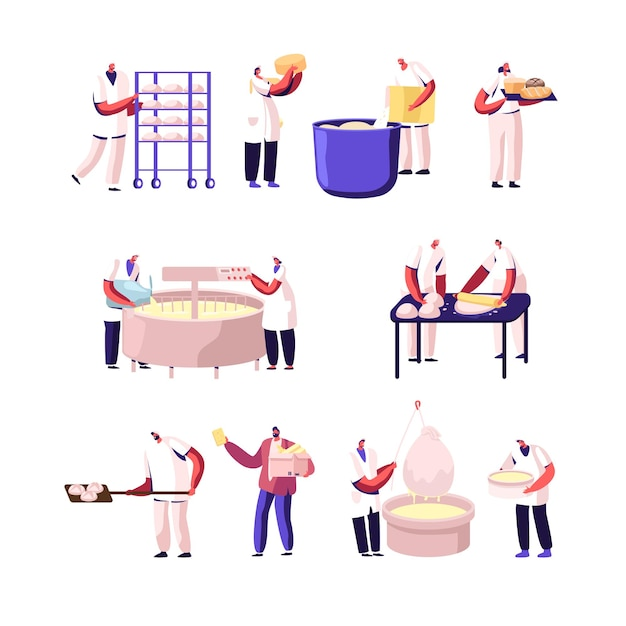 Bakery and cheese factory, food production set. Premium Vector