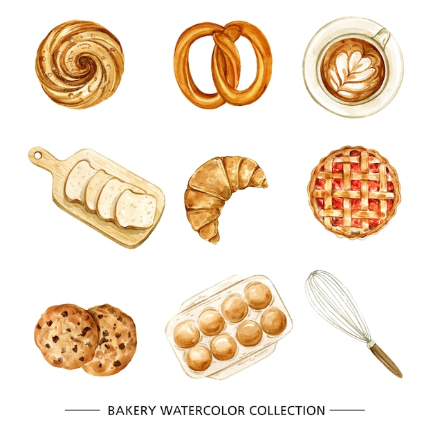 Bakery, coffee illustration with watercolor on white background. Free Vector