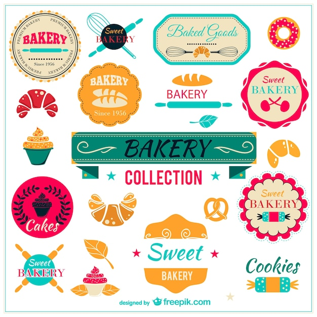 Bakery collection badges Free Vector