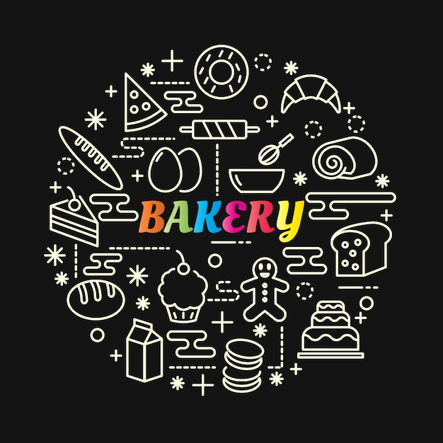 Bakery colorful gradient with line icons set Premium Vector