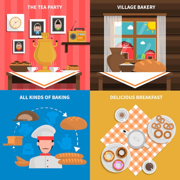 Bakery concept backgrounds Free Vector