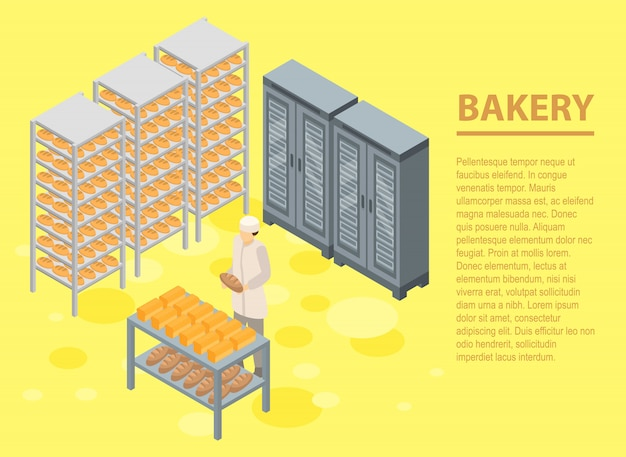 Bakery concept banner, isometric style Premium Vector
