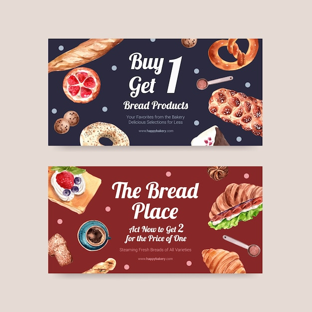Bakery coupon templates Free Vector