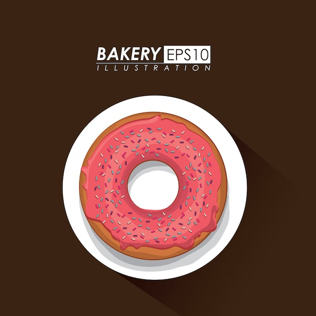 Bakery design over brown background vector illustration Premium Vector