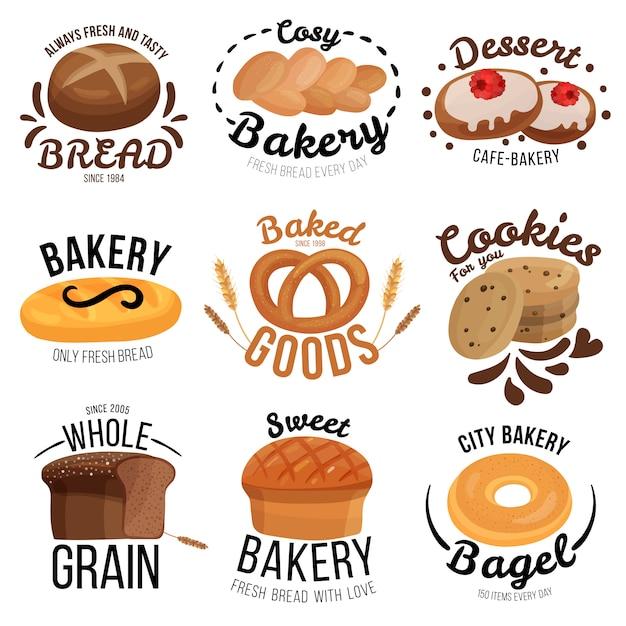 Bakery emblems set Free Vector