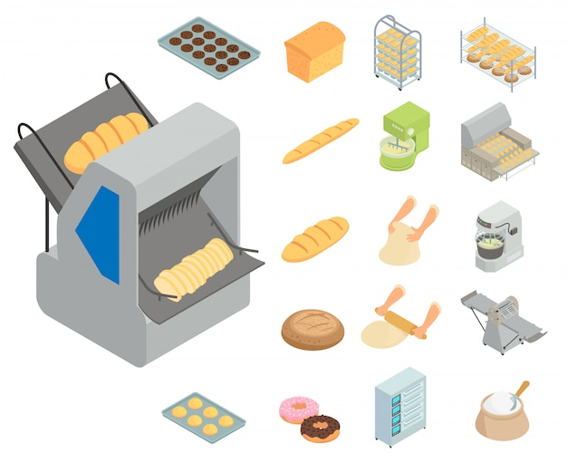 Bakery factory icons set. isometric set of bakery factory vector icons  isolated on white background Premium Vector