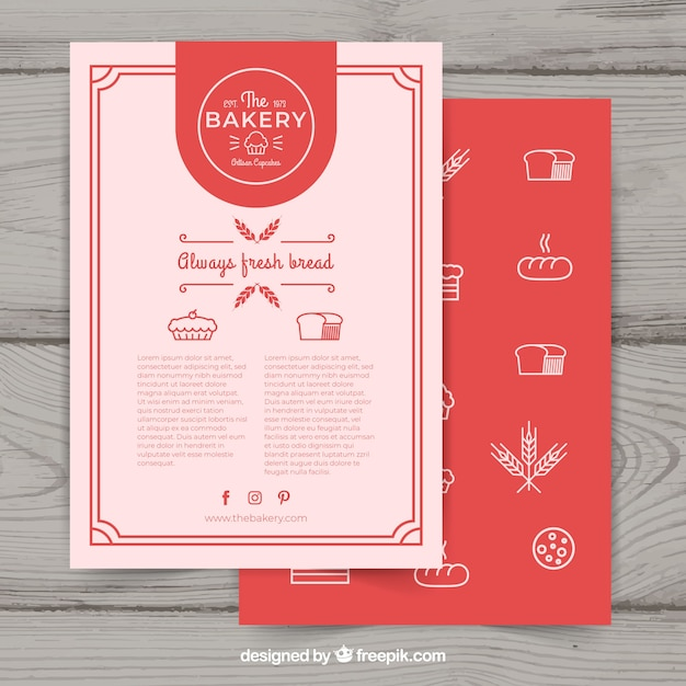 Bakery Flyer Template With Elegant Style Free Vector