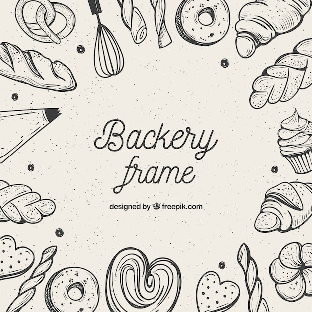 Bakery food frame background Free Vector
