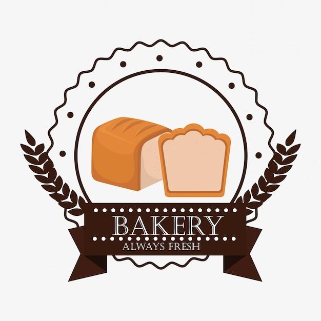 Bakery fresh bread label Free Vector