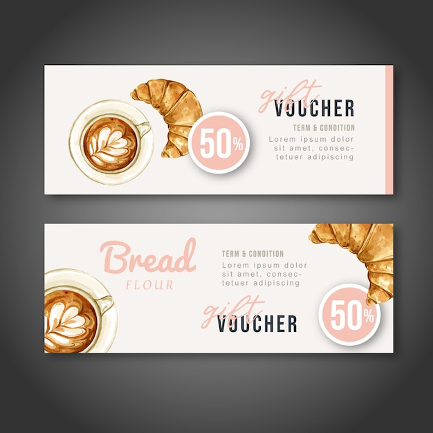 Bakery gift voucher template. bread and bun collection. home made Free Vector