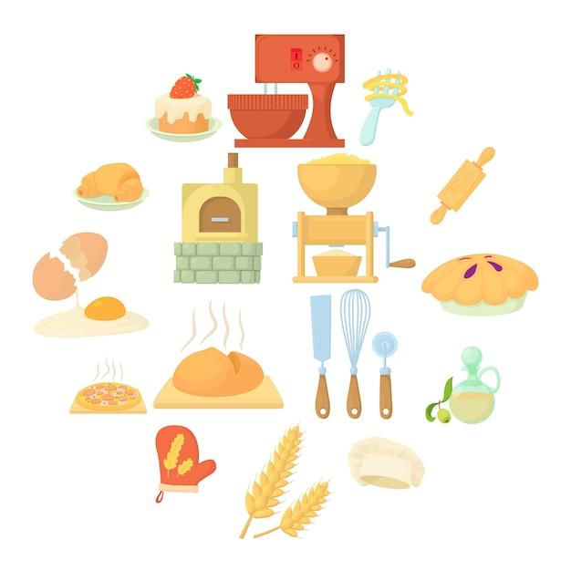 Bakery icon set, cartoon style Premium Vector