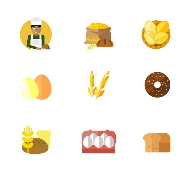 Bakery icon set Free Vector