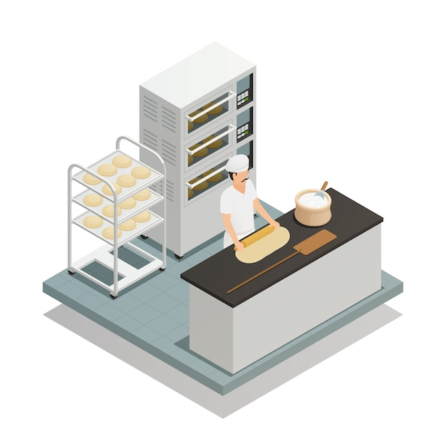 Bakery isometric composition Free Vector