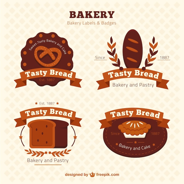 Bakery labels and badges in retro style Free Vector