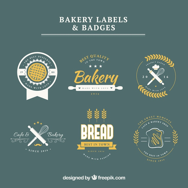 Bakery labels and badges Free Vector