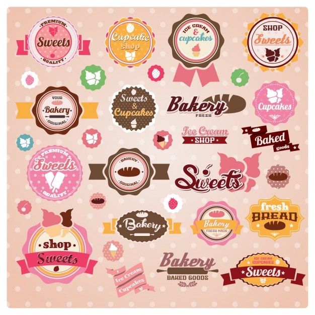 Bakery labels collection Free Vector