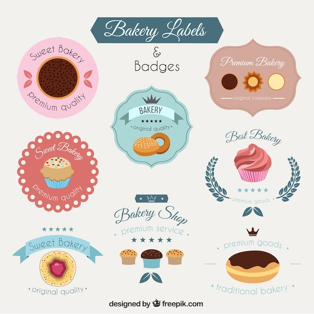 Bakery labels pack Free Vector