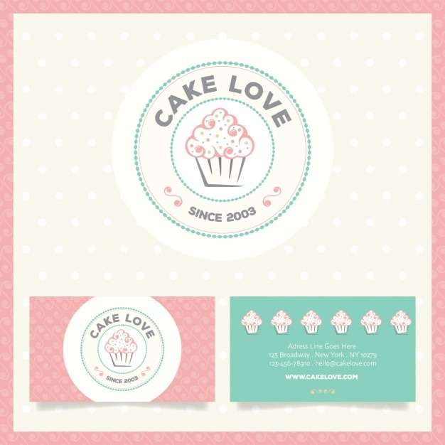 Bakery logo and business card Free Vector
