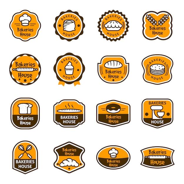 Коллекция логотипов хлебопекарни Бесплатные векторы