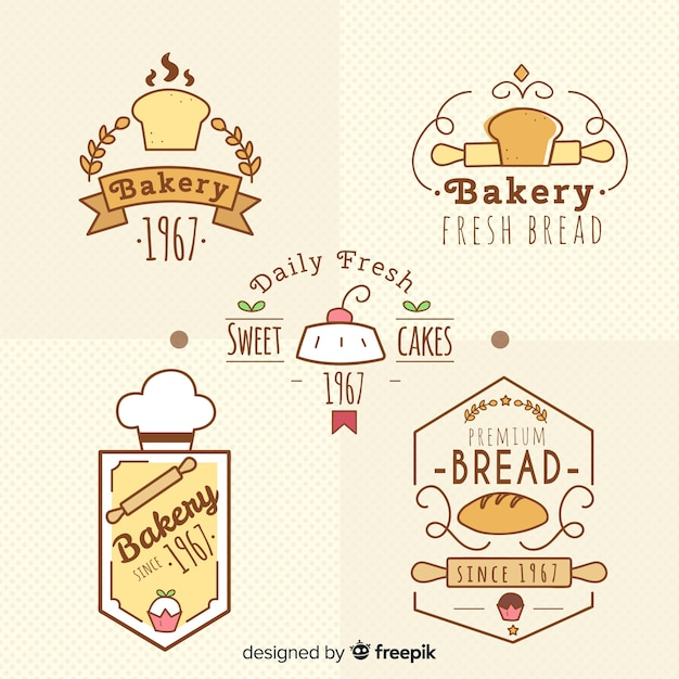 Bakery logo collection Free Vector