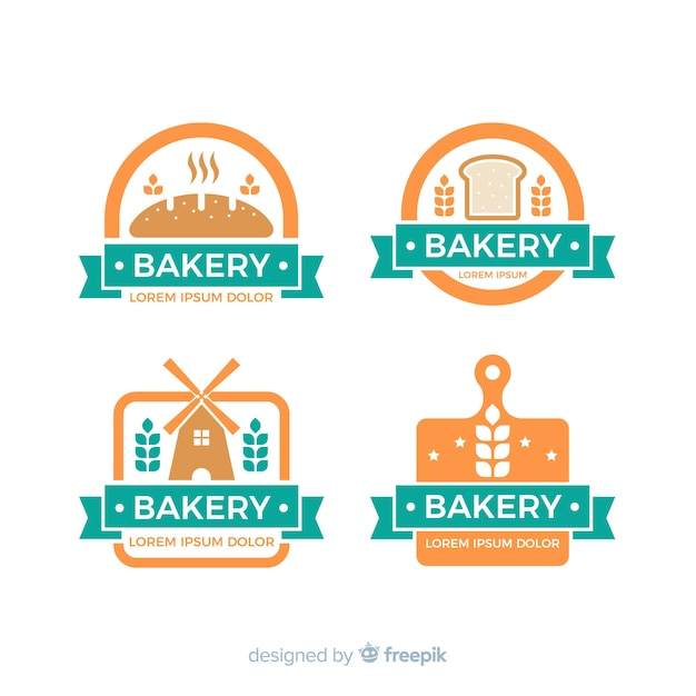 Bakery logo collection Free Vector