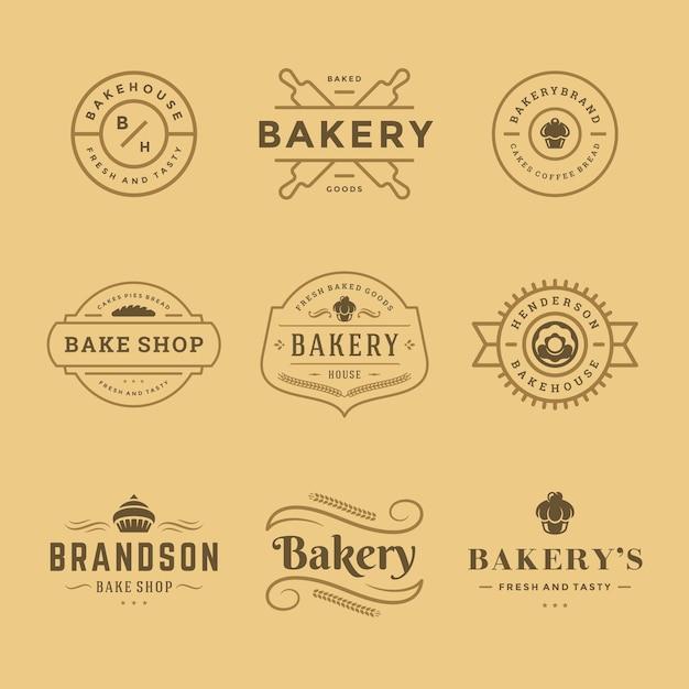 パン屋のロゴとバッジのテンプレートは、イラストを設定します。パン屋やカフェのエンブレムに最適です。 Premiumベクター