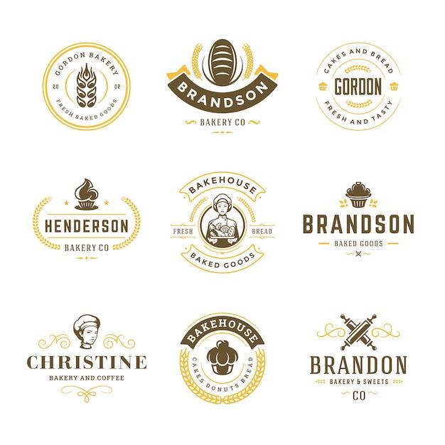 Bakery logos and badges templates set Premium Vector