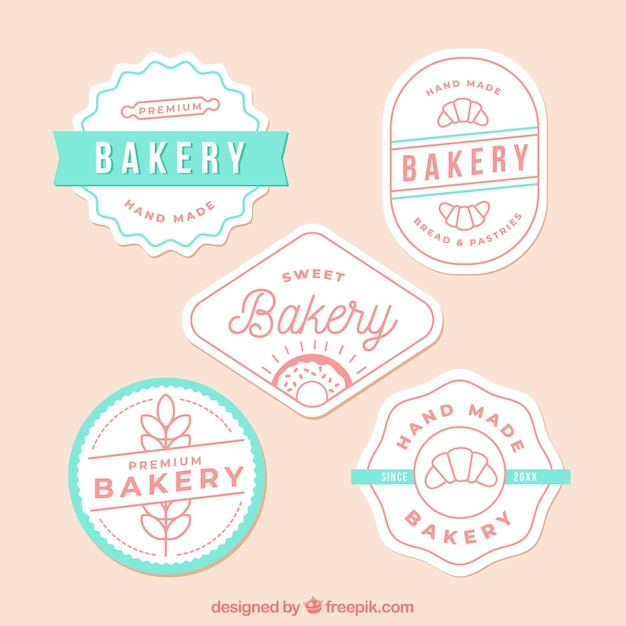 Bakery logos collection in flat style Free Vector