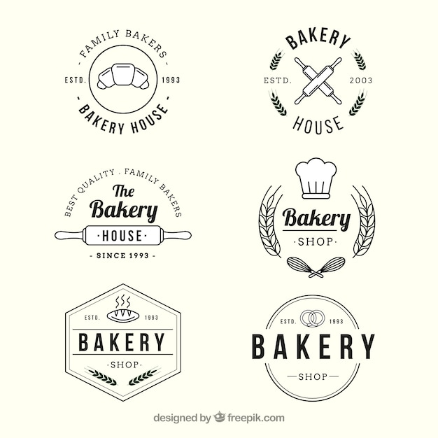 Bakery logos collection in vintage style Free Vector