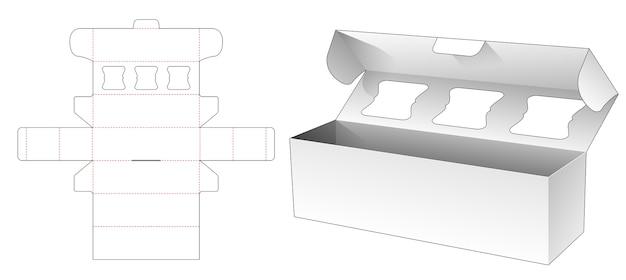 Bakery long box with top flip die cut template design Premium Vector