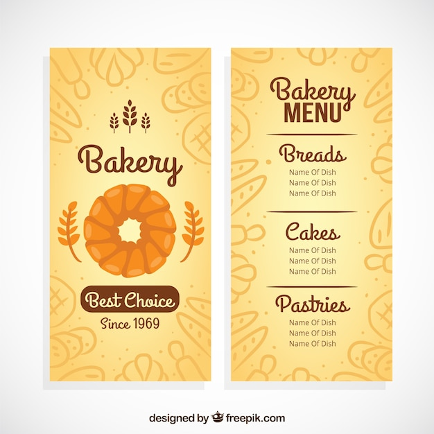 Bakery menu template with sketches products Vector | Free Download