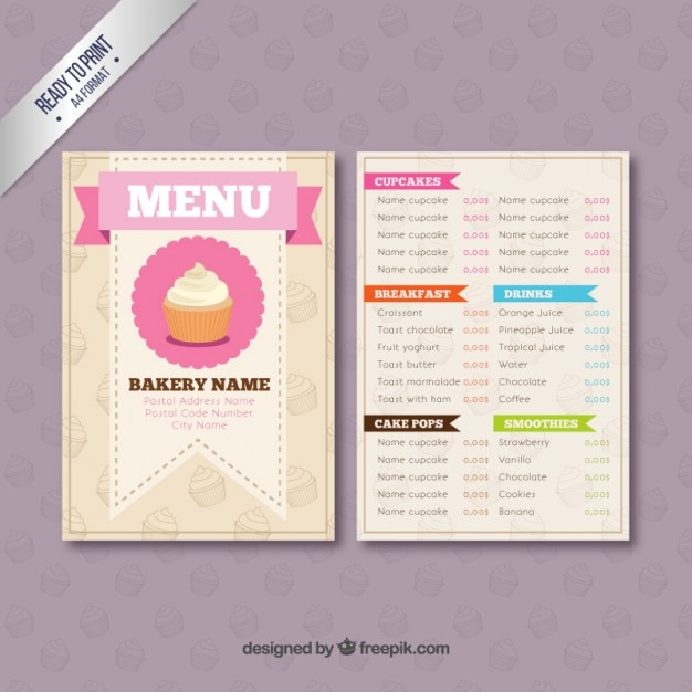 bakery menu template vector premium download