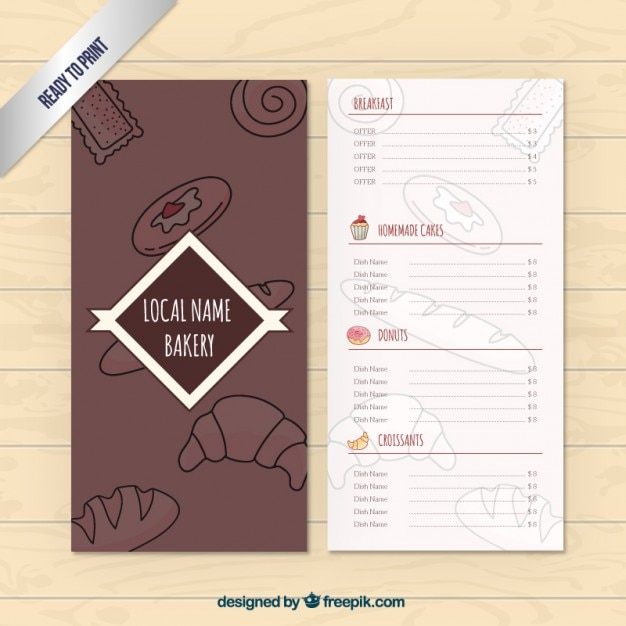 Bakery menu template Vector | Free Download
